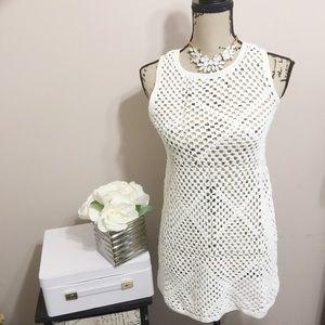 Topshop long crochet vest/dress